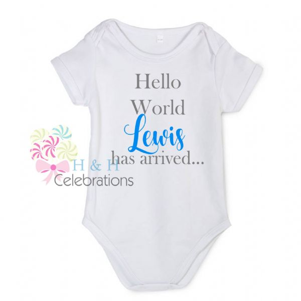 Hello World Personalised Baby Vest